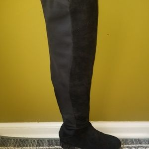 Tory Burch black suede and neoprene boots